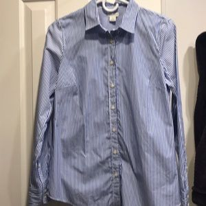 Blue and white striped Oxford shirt